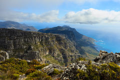 Rock and Landscape on Top of Table Mountain in South Af Royalty Free Stock Images