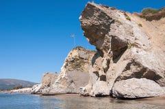 Rock landslide on the Kalamaki beach Stock Image