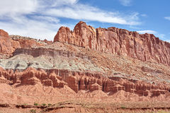 Rock layers in Capitol Reef National Park. Royalty Free Stock Photo
