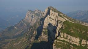 Rock layers in the Churfirsten mountain range Stock Photos
