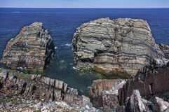 Rock layers, Newfoundland coastline near Bonavista Royalty Free Stock Photo