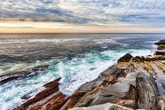 Rock ledges and sea at Pemaquid Point, Maine Stock Images