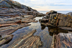 Rock ledges and tidal pools, Pemaquid Maine Royalty Free Stock Images