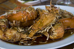 Rock lobsters with garlic Royalty Free Stock Photos