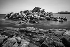 These rock. Long exposure of rocks near Palombaggia beach, Corsica, France royalty free stock photo