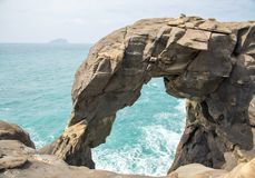 The rock looks like an elephant called `Trunk Rock`. A Famous Destination for Canoeing Activity, At the North Coast of Taiwan. Shenao, New Taipei, Taiwan stock photography