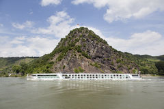 Rock of Loreley next to the river rhine in germany Royalty Free Stock Photos