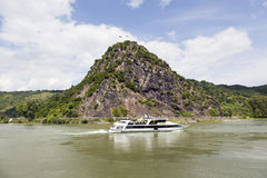 Rock of Loreley next to the river rhine in germany Stock Photo