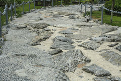 Rock-made path, Pavement made of stones in cement. Khao Chi Chan Thailand Royalty Free Stock Image