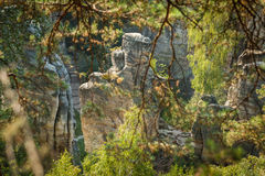 The rock mass in the Czech natural paradise Stock Photography