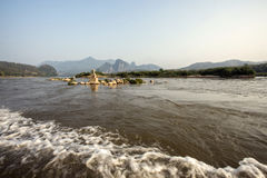 Rock in the mekong river. In Lao Royalty Free Stock Photography