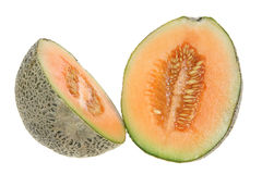 Rock Melon in Halves Stock Photo