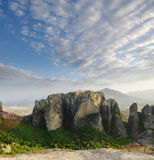 Rock of Meteora at dusk Royalty Free Stock Images