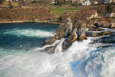 Rock in the middle of Rhine fall Stock Photography