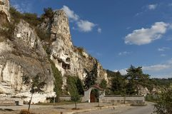 The rock monastery St Dimitrii of Basarbovo Royalty Free Stock Photography