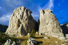 Rock monoliths at sunset. Limestone monoliths near Frosolone, Molise, Italy royalty free stock image