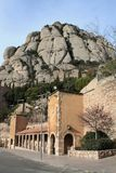 Rock Montserrat. The observation deck on the mountain Montserrat, a view of rocks and the building stock photography