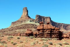 Rock monuments. In Moab Utah Canyonlands Royalty Free Stock Photo