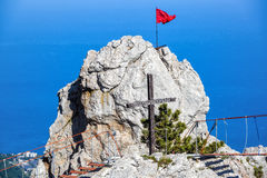 Rock on the Mount Ai-Petri in Crimea. Rock on the Mount Ai-Petri with a rope bridge in Crimea, Russia. It is one of the highest mountains in Crimea and tourist royalty free stock photography