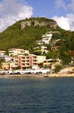 Rock Mountain. Simpson Bay landscape in St. Martin with ocean and rock mountain Stock Images
