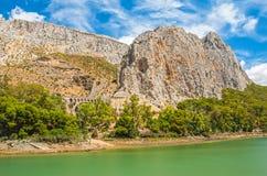 Rock mountain at El Chorro in Malaga Royalty Free Stock Images