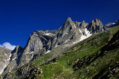 Rock mountain peak with snow at Northern India Stock Images