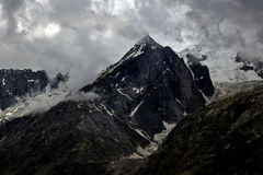 Rock mountain peak with snow at Northern India Stock Photography