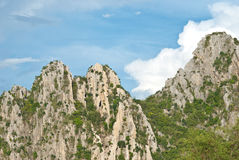 Rock moutain with blue sky. In Nakhonsawan province, Thailand Royalty Free Stock Images