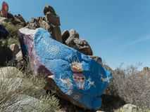 Arizona desert, artwork on the rocks. Rock murals of Chloride, Arizona Royalty Free Stock Photos
