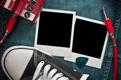 Rock music background. Instant photo prints Royalty Free Stock Photos