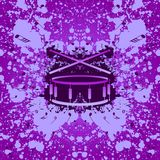 Rock music background - drum. Grunge background with stylized inkblot snare drum and musical notes Stock Photos