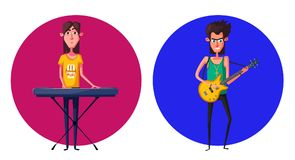 Rock music band character. Old school party. Cartoon vector illustration. Royalty Free Stock Photography