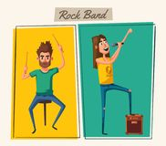 Rock music band character. Old school party. Cartoon vector illustration. Vintage style. Live festival. Singer and drummer Stock Photography