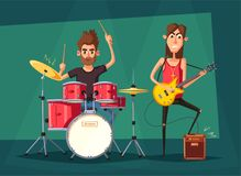 Rock music band. Old school party. Cartoon vector illustration. Royalty Free Stock Photos