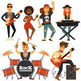 Rock music band singer, bass guitarist and percussion player vector flat icons. Rock music band of woman singer, bass guitarist, drummer man or percussion and Royalty Free Stock Photography