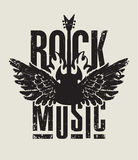Rock music. Banner for rock music with electric guitar with wings on fire Royalty Free Stock Images