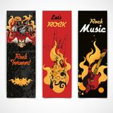 Rock music banners set. Jazz rock music festival concert banners set with electric guitar drums cymbals flames abstract isolated  vector illustration Royalty Free Stock Image
