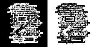 Rock music on a brick background black and white Royalty Free Stock Image