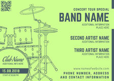 Rock music concert drum set horizontal music flyer template vector illustration