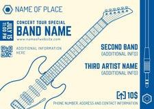 Rock music concert electro guitar horizontal music flyer templat Stock Photos