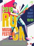 Rock music concert poster. Bass guitar player in WPAP style, pop art portrait for rock music festival Stock Photography