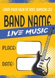Rock music concert poster with electric guitar stock illustration