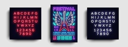Rock music concert poster vector. Design Template Rock Music Festival, Neon Style, Neon Banner, Light Flyer, Concert royalty free illustration