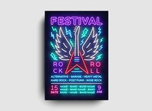 Rock music concert poster vector. Design Template Rock Music Festival, Neon Style, Neon Banner, Light Flyer, Concert. Invitation, Rock Roll Music, Night Party Stock Photography