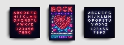 Rock music concert poster vector. Design Template Rock Music Festival, Neon Style, Neon Banner, Light Flyer, Concert. Invitation, Rock Roll Music, Night Party Stock Photo