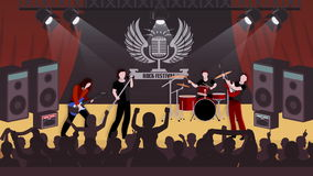 Rock music concert scenes animation footage stock video footage