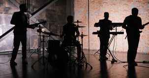 Rock music concert stage. Musical rock show. Rock music band concert. Music concert rock group. Concert musicians stage stock footage