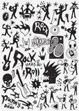 Rock music doodles Royalty Free Stock Images