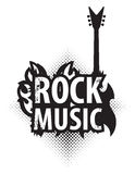 Rock music with electric guitar. Banner for rock music with electric guitar with fire Royalty Free Stock Photo