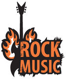 Rock music with electric guitar. Banner for rock music with electric guitar with fire Stock Photo